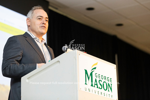 George Mason President Ángel Cabrera speaks at the launch of the Institute for a Sustainable Earth. Photo by Lathan Goumas/Strategic Communications