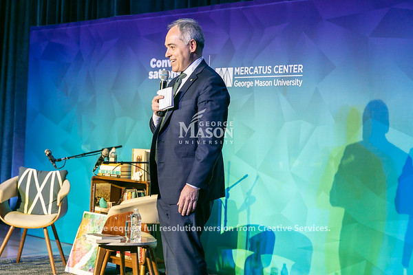 President Ángel Cabrera speaks as Margaret Atwood, author and activist joins Tyler Cowen for a wide-ranging dialogue as part of the Mercatus Center's Conversations with Tyler series.  Photo by:  Ron Aira/Creative Services/George Mason University