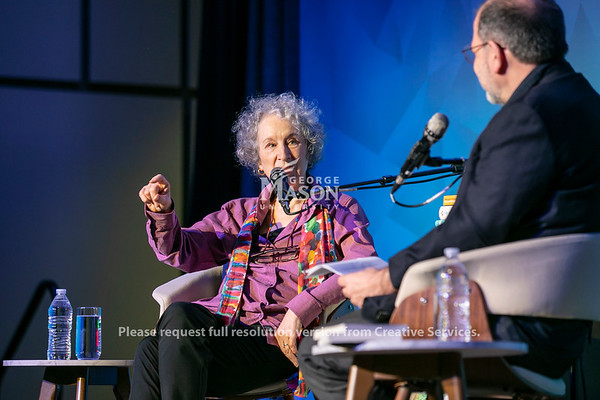 Margaret Atwood, author and activist joins Tyler Cowen for a wide-ranging dialogue as part of the Mercatus Center's Conversations with Tyler series.  Photo by:  Ron Aira/Creative Services/George Mason University