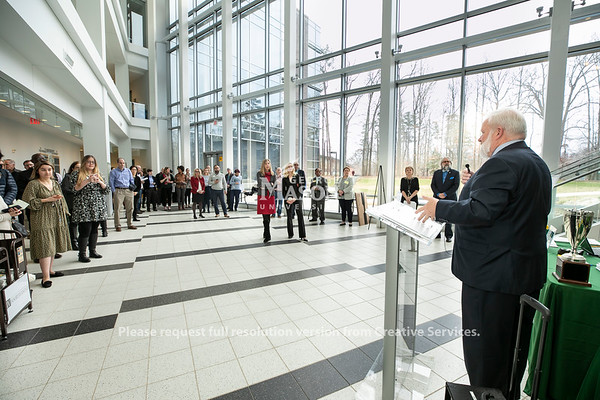 Dean Kenneth Ball speaks during the 2020 Engineers Week Kickoff and Proclamation with City of Fairfax Council member Michael J. DeMarco.  Photo by:  Ron Aira/Creative Services/George Mason University