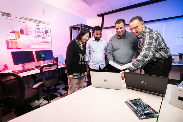 Professor Paulo Costa and Students at The Radar and Radio Engineering Lab (RARE Lab), located at George Mason University's Volgenau School of Engineering.  Photo by:  Ron Aira/Creative Services/George Mason University