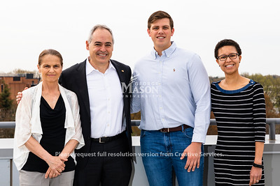 Honors College dean Zofia Burr, George Mason University president Ángel Cabrera, 2019 Harry S. Truman Scholarship recipient Patrick Grady and Honors College director of fellowships LaNitra Berger.  Photo by Lathan Goumas/Strategic Communications
