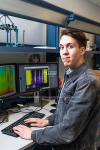 Gabe Earle is a junior who has done an OSCAR project that combines his passion for music and sound recording with his strong interest in civil and mechanical engineering to create a system that tracks the sounds a machine makes in order to report on it's operational malfunctions. Photo by Lathan Goumas/Strategic Communications