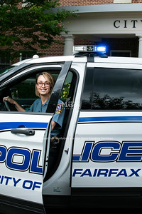 Schar School MPA alumna Erin Schaible is the first woman to lead the Fairfax City Police Department.  Photo by:  Ron Aira/Creative Services/George Mason University