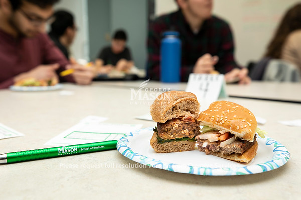 Plant-based hamburger taste test at Innovation Hall sponsored by the School of Business.  Photo by:  Ron Aira/Creative Services/George Mason University