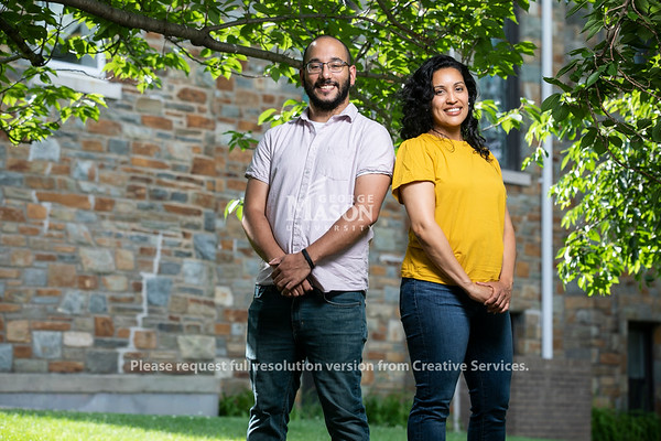 Kimiko Lighty (right) and Michael Brown, Jimmy and Rosalynn Carter School for Peace and Conflict Resolution Alumni.  Photo by:  Ron Aira/Creative Services/ George Mason University