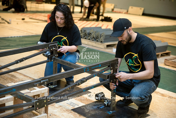 George Mason University's student team competes in the Steel Bridge Competition at the annual ASCE Virginias' Conference, hosted by the student chapter of George Mason University's American Society of Civil Engineers. Photo by Bethany Camp/Creative Services/George Mason University