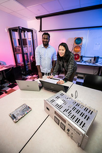 Professor Yi-Ching lee and student at The Radar and Radio Engineering Lab (RARE Lab), located at Volgenau School of Engineering.  Photo by:  Ron Aira/Creative Services/George Mason University