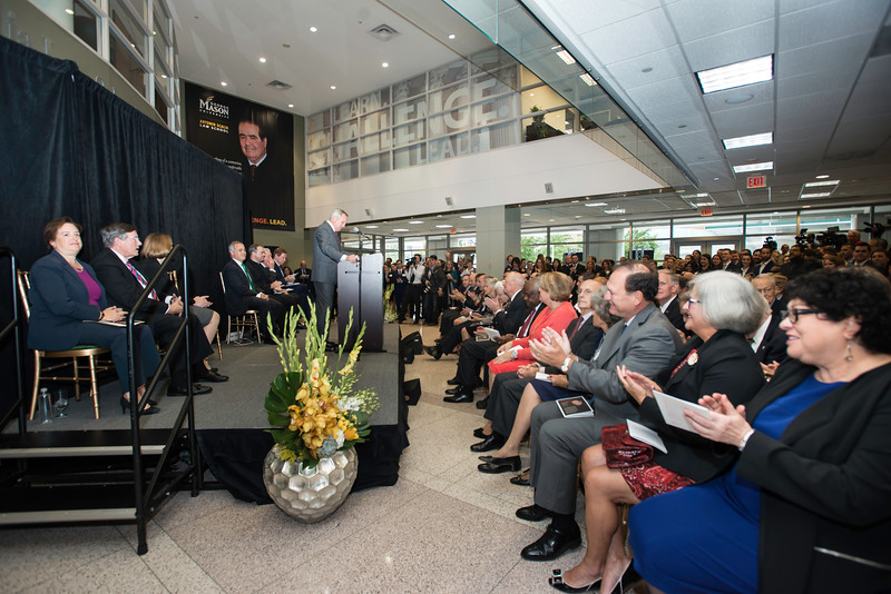 Henry Butler, Dean, speaks at the Antonin Scalia Law School Dedication.  Photo by:  Ron Aira/Creative Services/George Mason University