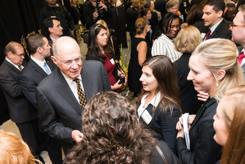 The Honorable Anthony M. Kennedy, associate justice, Supreme Court of the United States, speaking to students following the Antonin Scalia Law School dedication ceremony.  Photo by:  Ron Aira/Creative Services/George Mason University