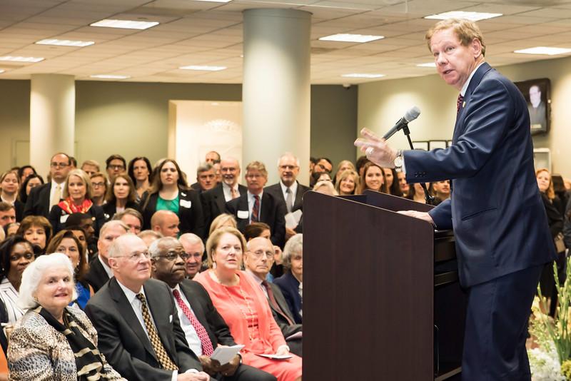 Tom Davis, rector speaks at the Antonin Scalia Law School Dedication.  Photo by:  Ron Aira/Creative Services/George Mason University