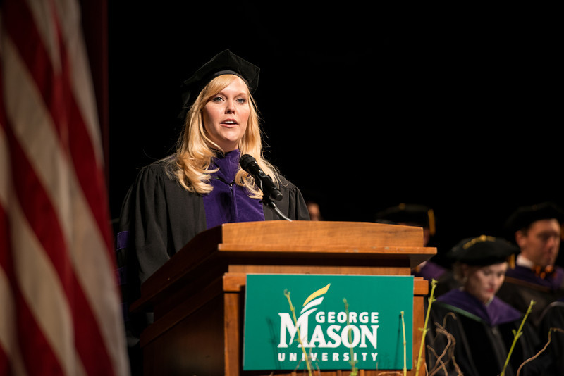 Student Allison Tisdale speaks at the School of Law Convocation 2012. Photo by Alexis Glenn/Creative Services/George Mason University
