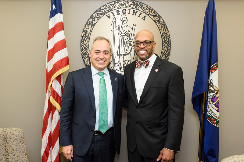 On October 18, 2017 the Antonin Scalia Law School at George Mason University and Radford University announced a new dual-degree program to help students expedite their law school education. Pictured are Mason  President Ángel Cabrera and Radford President Brian Hemphill. Photo by: Ron Aira, Creative Services/George Mason University