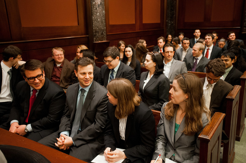 Law School students attend the Law School's final round of the First Year Moot Court Competition at US District Court, Eastern District of Virginia, in Alexandria. Photo by Alexis Glenn/Creative Services/George Mason University
