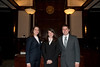 (L to R) Law School students Kristen Kugel, Chief Justice, Catherine Brown, Vice Justice, and Matthew Perushek, Managing Justice pose after the Law School's final round of the First Year Moot Court Competition at US District Court, Eastern District of Virginia, in Alexandria. Photo by Alexis Glenn/Creative Services/George Mason University