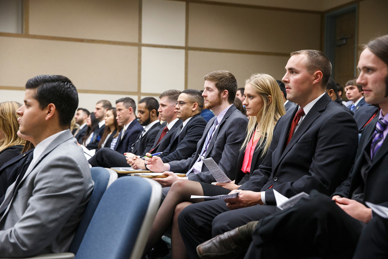 Students participate in School of Management 498 Case Competition. Photo by Craig Bisacre/Creative Services/George Mason University