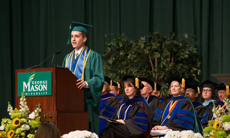 Student Jeremy Horst speaks at the School of Management Convocation 2012. Photo by Alexis Glenn/Creative Services/George Mason University