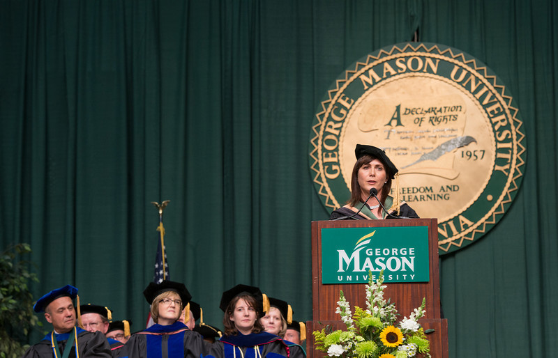 Ivy Zelman, class of 1990 alumna, speaks at the School of Management Convocation 2012. Photo by Alexis Glenn/Creative Services/George Mason University