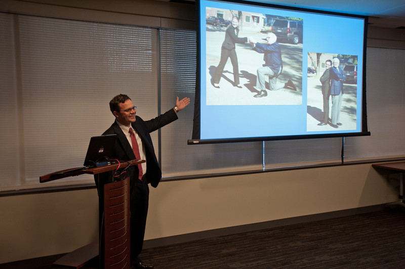 2nd year MBA student Brian Dycus presents to the School of Business Dean's Council about his visit with Warren Buffett at KPMG LLP in McLean, Virginia. Photo by Alexis Glenn/Creative Services/George Mason University