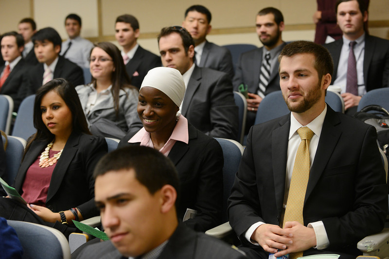 School of Business students compete in the capstone competition.  Photo by Evan Cantwell/Creative Services/George Mason University