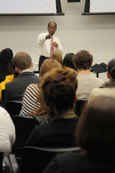 Roger W. Ferguson, president and CEO of TIAA-CREF, addresses School of Business students following his presentation of a $25,000 check to Mason for winning his company's Raise the Rate contest. Photo by Creative Services/George Mason University