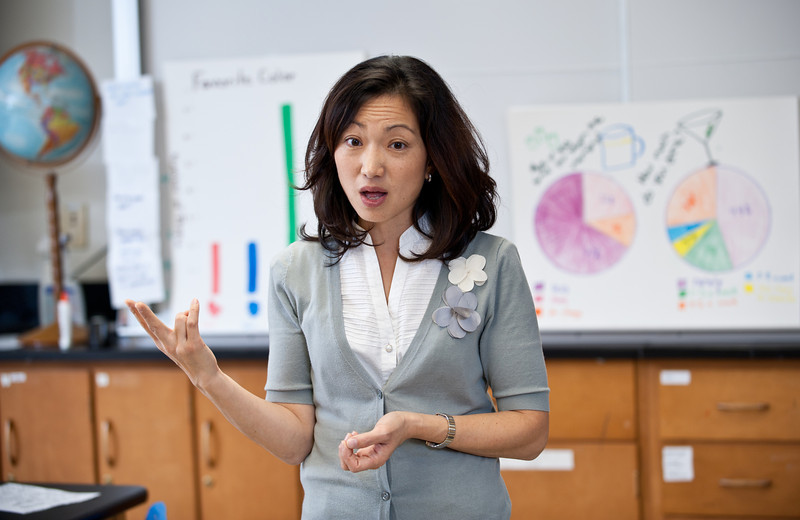 Jennifer Suh, Assistant Professor, Graduate School of Education, College of Education and Human Development teaches an EDCI 552 course, Mathematics Methods for the Elementary Classroom, at George Mason University's Fairfax Campus. Photo by Alexis Glenn/George Mason University