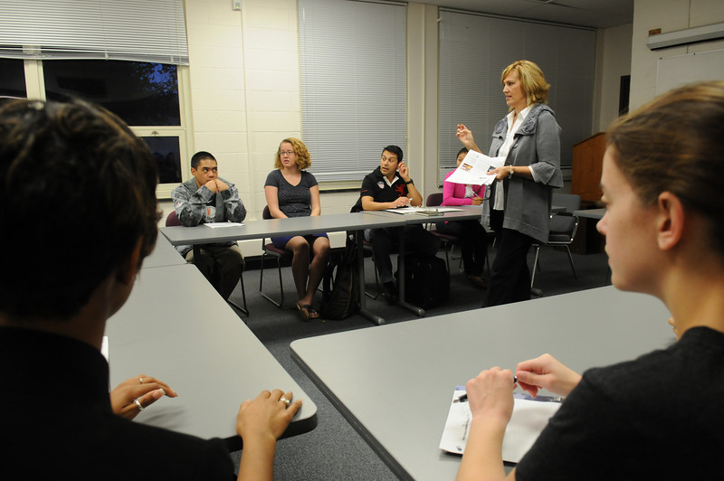 CEHD teacher Leslie Morton during a class on Civility.  Photo by Creative Services