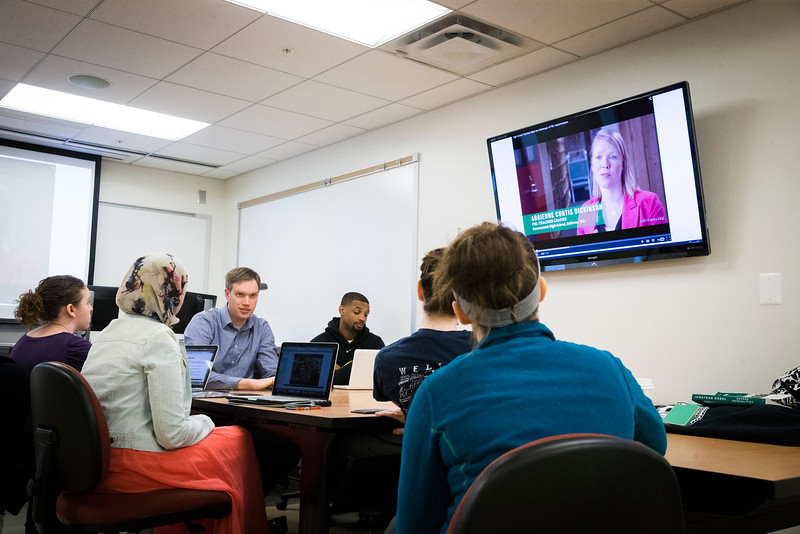 Assistant Professor Jered Borup teaches a Technology, Society, and the Culture of Learning class on Fairfax Campus.  Photo by Craig Bisacre/Creative Services/George Mason University