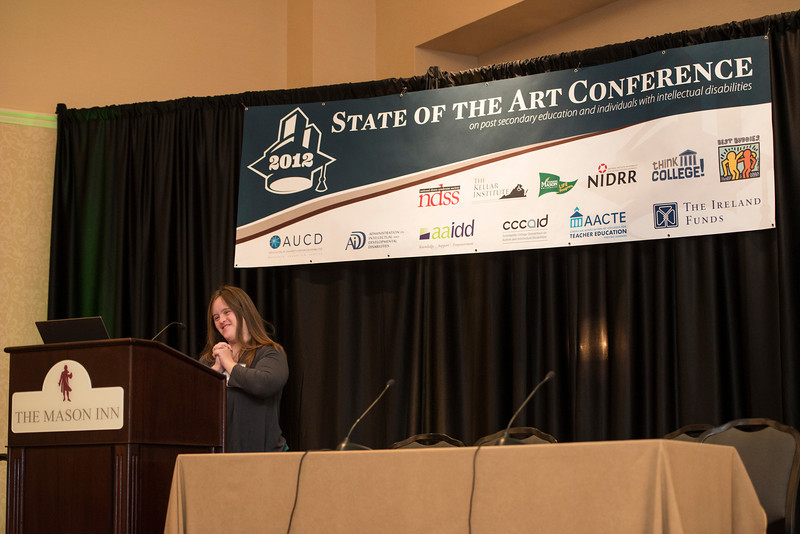 Claire Bible, graduate of the Cutting Edge Program at Edgewood College, speaks at the State of the Art conference at the Mason Inn. Photo by Alexis Glenn/Creative Services/George Mason University