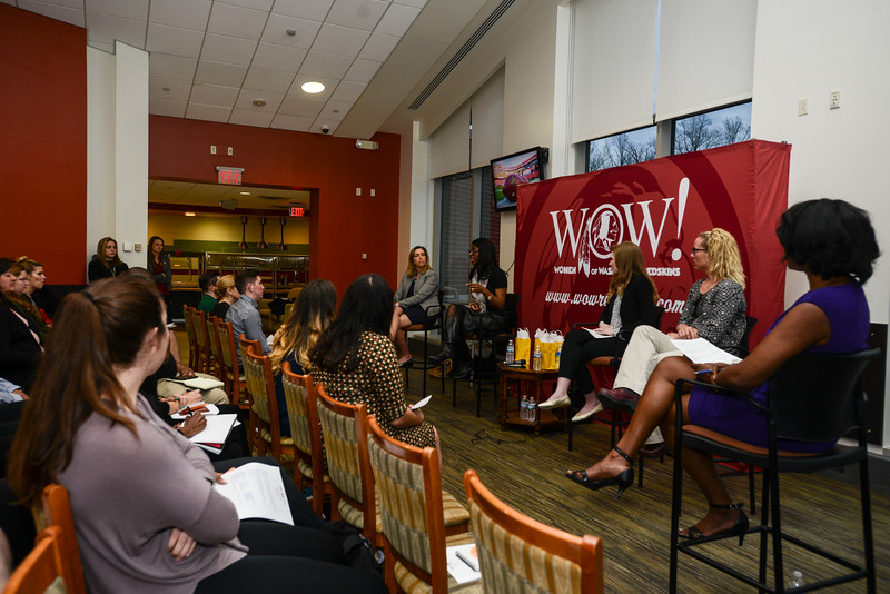 George Mason hosts a panel discussion co-hosted by the Redskins titled Women in Sports Leadership-Challenges and Opportunities.  Photo by Bethany Camp / Creative Services / George Mason University