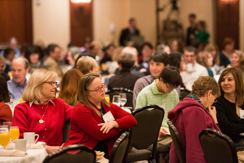 Attendees listen to speakers at the State of the Art conference at the Mason Inn. Photo by Alexis Glenn/Creative Services/George Mason University