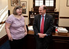 Mason LIFE student Sarah Meade chats with Delaware Senator Chris Coons in his Congressional office on Capitol Hill in Washington DC.