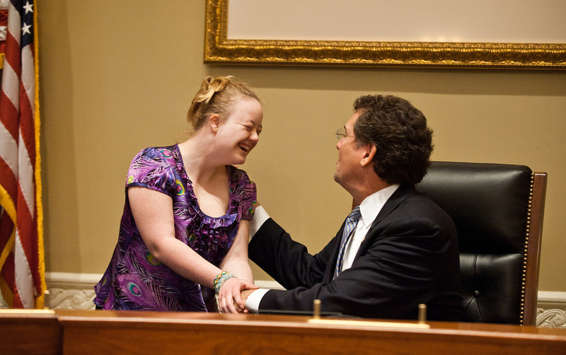 Mississippi Rep. Gregg Harper (R) greets a Mason LIFE Student in a hearing room of the Longworth House Office building on Capitol Hill in Washington DC.