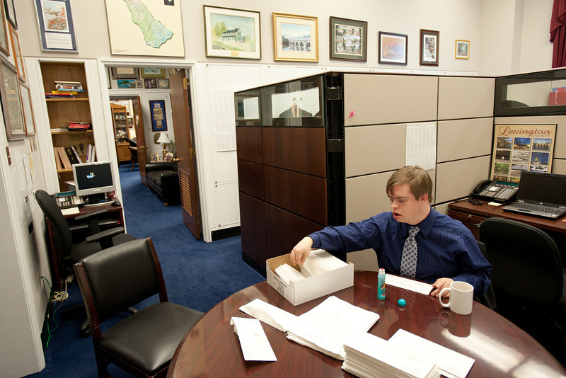 Mason LIFE student Adrian Forsythe works in the Congressional office of South Carolina Representative Joe Wilson on Capitol Hill in Washington DC.