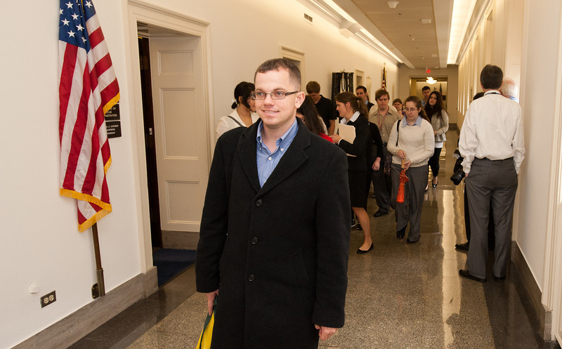 Mason LIFE Students walk the halls of the Longworth House Office building on Capitol Hill in Washington DC.