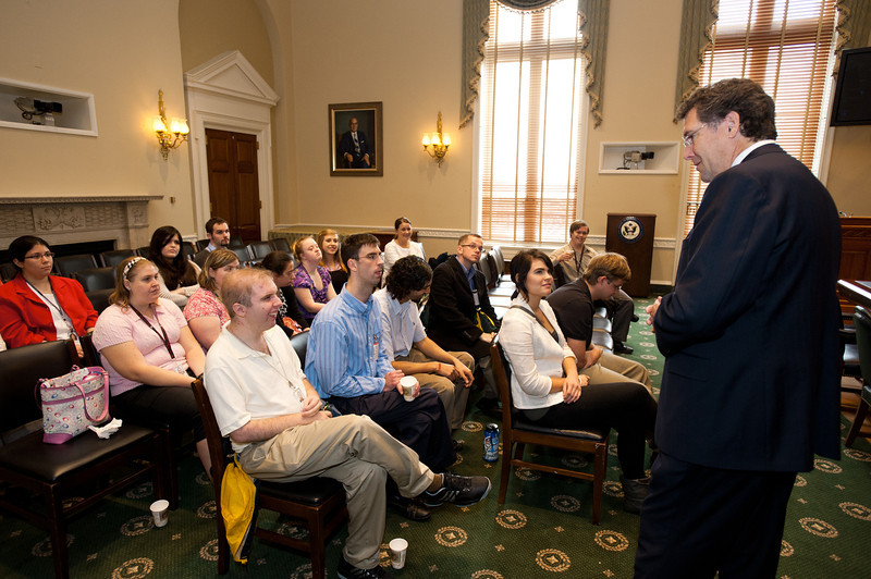 Mississippi Rep. Gregg Harper (R) greets Mason LIFE Students in a hearing room of the Longworth House Office building on Capitol Hill in Washington DC.