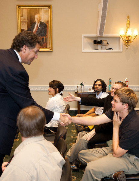 Mississippi Rep. Gregg Harper (L) greets Mason LIFE Students in a hearing room of the Longworth House Office building on Capitol Hill in Washington DC.