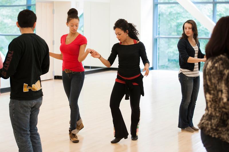 Marsha Bonet-Savchenko teaches PHED 107: Social Dance at the RAC on Fairfax campus. Photo by Alexis Glenn/Creative Services/George Mason University