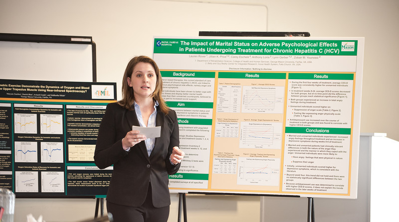 CHHS clinical research honor students present their research at Fairfax Campus. Photo by Alexis Glenn/Creative Services/George Mason University
