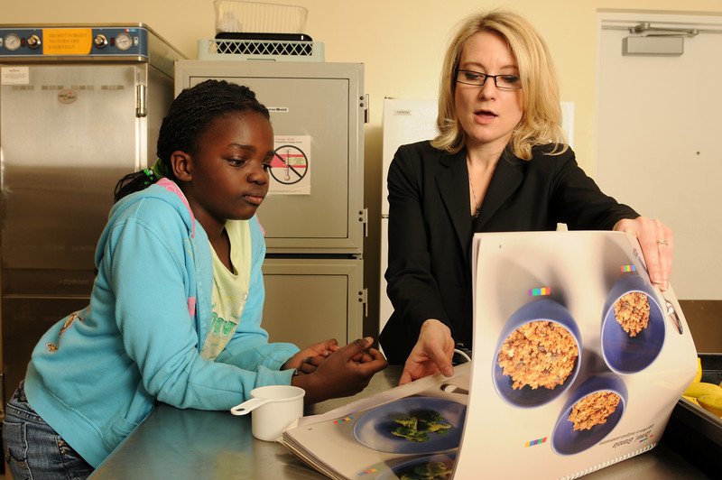 090330561 - Nutrition and Food Studies faculty member, Lisa Pawloski, teaches children about healthy eating and nutrition.