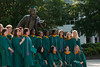 Graduates of the College of Health and Human Services gather at the Mason Statue before Convocation 2012. Photo by Alexis Glenn/Creative Services/George Mason University