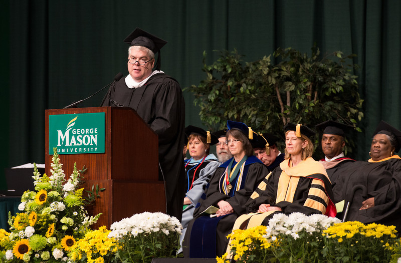 Kevin Donnellan, Executive Vice President and Chief Communications Officer for AARP, speaks at the College of Health and Human Services Convocation 2012. Photo by Alexis Glenn/Creative Services/George Mason University