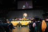 Frank Whittington, Associate Dean of Academic Affairs, welcomes students and families to the College of Health and Human Services Convocation 2012. Photo by Evan Cantwell/Creative Services/George Mason University