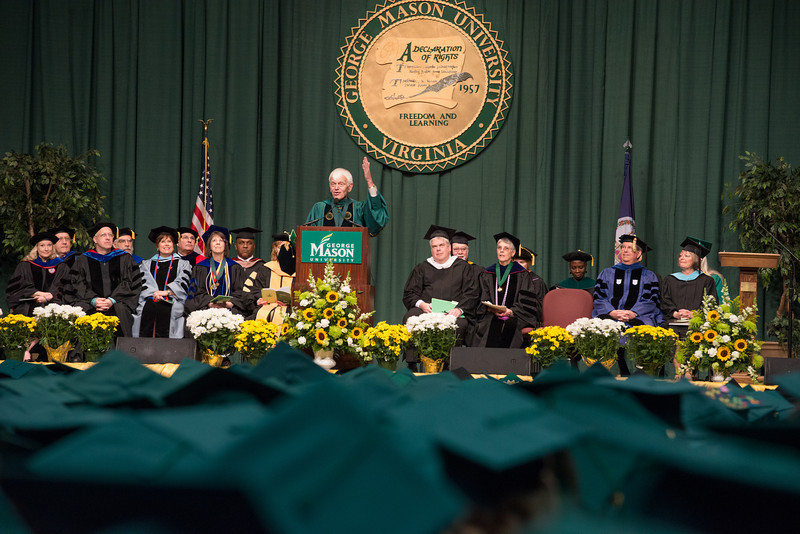 Alan Merten speaks at the College of Health and Human Services Convocation 2012. Photo by Alexis Glenn/Creative Services/George Mason University
