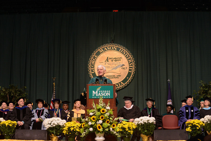 Alan Merten speaks at the College of Health and Human Services Convocation 2012.Photo by Evan Cantwell/Creative Services/George Mason University