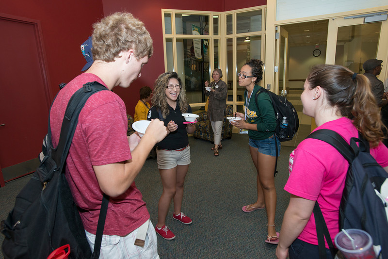 The College of Health and Human Services hosts a CHHS Ice Cream Social for students, faculty and staff in the Johnson Center Cinema at Fairfax Campus. Photo by Alexis Glenn/Creative Services/George Mason University
