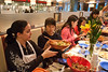 Students of the CHHS Nutrition and Food Studies Class enjoy a Thanksgiving meal they prepared and cooked at the Nutrition Kitchen near Fairfax Campus.