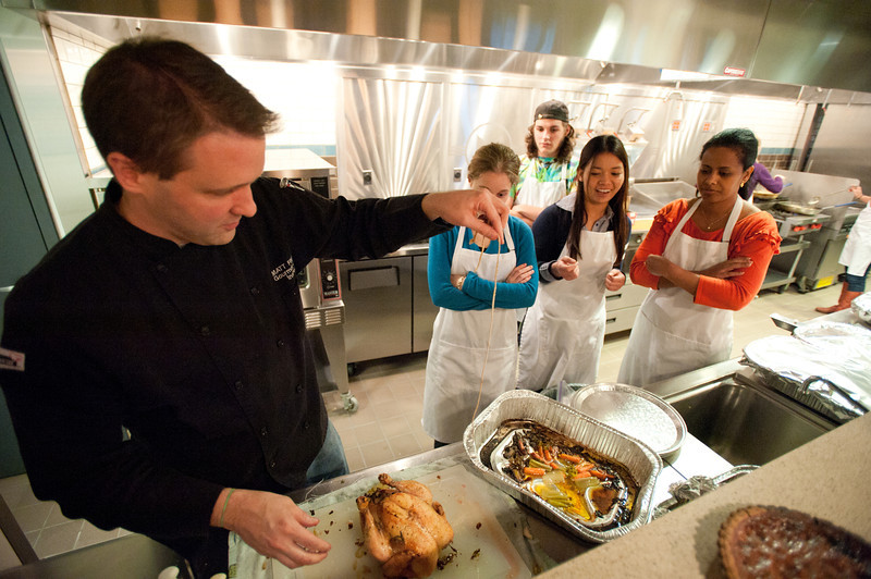 Chef Matt Finarelli and students of the CHHS Nutrition and Food Studies Class prepare and cook a traditional Thanksgiving Dinner at the Nutrition Kitchen near Fairfax Campus.