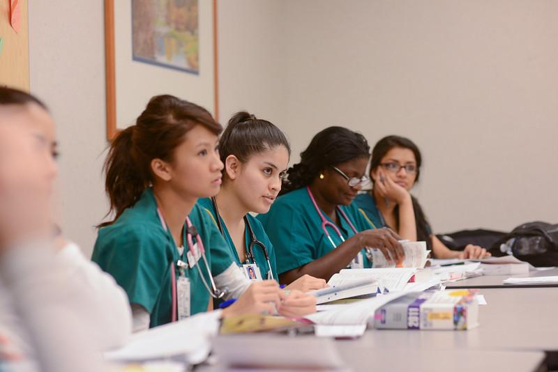 Nursing students in class at Sentara Hospital. Photo by Evan Cantwell/George Mason University