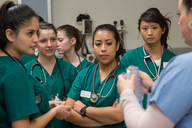 Nursing students in clinical labs. Photo by Evan Cantwell/George Mason University